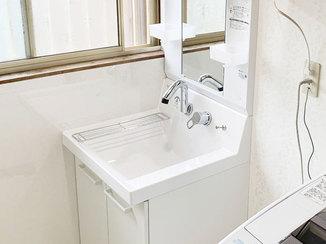 洗面リフォーム お掃除がしやすい洗面化粧台